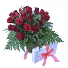 Alexis - A Vase of Red Roses and Chocolates.